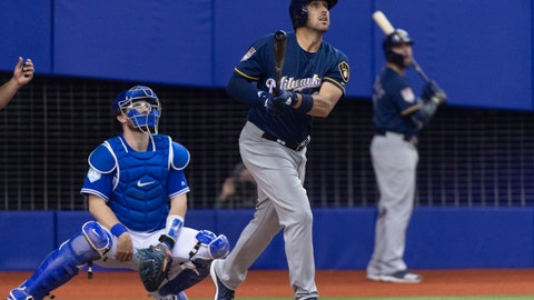 <p>               Milwaukee Brewers' Travis Shaw and Toronto Blue Jays catcher Danny Jansen watch  Shaw's three-run home run during the fifth inning of an exhibition baseball game Monday, March 25, 2019, in Montreal. (Paul Chiasson/The Canadian Press via AP)             </p>