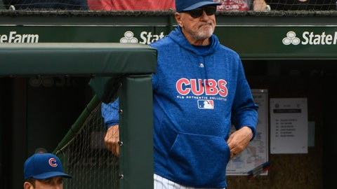 <p>               FILE - In this Oct. 1, 2018, file photo, Chicago Cubs manager Joe Maddon (70) looks on after Milwaukee Brewers' Domingo Santana (16) scores during the eighth inning of a tie break baseball game against the Chicago Cubs in Chicago. After four consecutive playoff appearances and the 2016 World Series title, the Chicago Cubs are way past playing for Maddon's future. Maddon is entering the final year of his contract after the team declined to offer an extension to its 65-year-old manager. (AP Photo/Matt Marton, File)             </p>