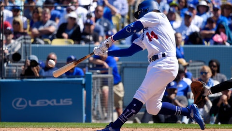 <p>               Los Angeles Dodgers' Enrique Hernandez hits a two-run home run during the fourth inning of a baseball game against the Arizona Diamondbacks, Thursday, March 28, 2019, in Los Angeles. (AP Photo/Mark J. Terrill)             </p>