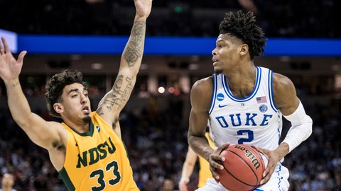 <p>               Duke forward Cam Reddish (2) makes a move against North Dakota State guard Jordan Horn (33) during the first half of a first-round game in the NCAA men's college basketball tournament Friday, March 22, 2019, in Columbia, S.C. (AP Photo/Sean Rayford)             </p>