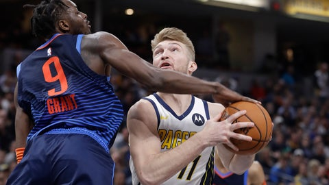 <p>               Indiana Pacers' Domantas Sabonis (11) puts up a shot against Oklahoma City Thunder's Jerami Grant (9) during the second half of an NBA basketball game, Thursday, March 14, 2019, in Indianapolis. Indiana won 108-106. (AP Photo/Darron Cummings)             </p>