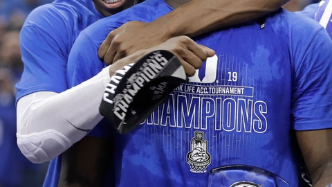 <p>               Duke's RJ Barrett, left, hugs Zion Williamson after Duke defeated Florida State in the NCAA college basketball championship game of the Atlantic Coast Conference tournament in Charlotte, N.C., Saturday, March 16, 2019. (AP Photo/Nell Redmond)             </p>