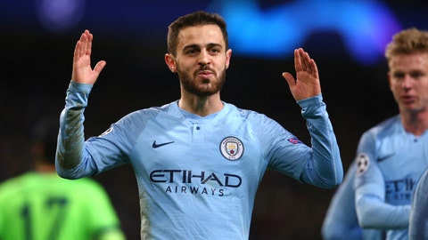 <p>               Manchester City's Bernardo Silva celebrates after scoring his side's fifth goal during the Champions League round of 16 second leg, soccer match between Manchester City and Schalke 04 at Etihad stadium in Manchester, England, Tuesday, March 12, 2019. (AP Photo/Dave Thompson)             </p>