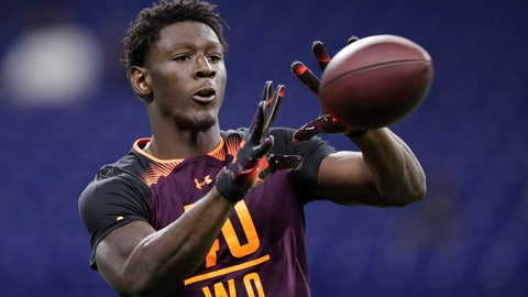 <p>               Georgia wide receiver Riley Ridley runs a drill at the NFL football scouting combine in Indianapolis, Saturday, March 2, 2019. (AP Photo/Michael Conroy)             </p>
