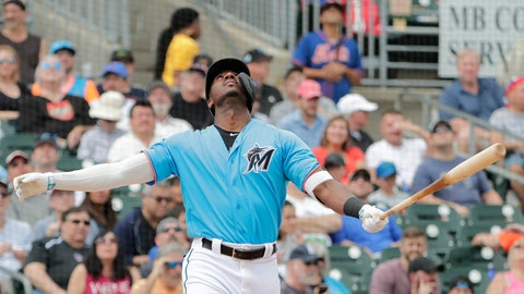 <p>               Miami Marlins' Lewis Brinson (9) looks up after hitting a foul ball in the second inning during an exhibition spring training baseball game against the New York Mets on Saturday, March 16, 2019, in Jupiter, Fla. (AP Photo/Brynn Anderson)             </p>
