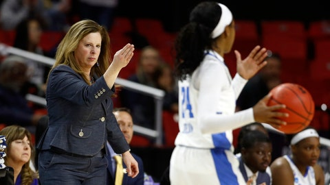 <p>               UCLA head coach Cori Close, left, directs guard Japreece Dean in the second half of a first-round game against Tennessee in the NCAA women's college basketball tournament, Saturday, March 23, 2019, in College Park, Md. (AP Photo/Patrick Semansky)             </p>