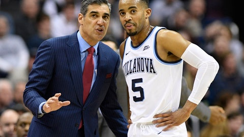 <p>               FILE - In this Wednesday, Feb. 20, 2019, file photo, Villanova head coach Jay Wright talks with guard Phil Booth (5) during the first half of an NCAA college basketball game against Georgetown in Washington. Villanova opens their Big East conference tournament play on Thursday, March 14, 2019.  (AP Photo/Nick Wass, File)             </p>