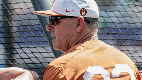 <p>               FILE - In this June 15, 2018, file photo, Texas coach David Pierce follows batting practice at TD Ameritrade Park in Omaha, Neb. Texas made the biggest move up in the major polls Monday, March 4, 2019, sitting as high as No. 7 after an attention-grabbing three-game sweep of then-No. 2 LSU in Austin. (AP Photo/Nati Harnik, File)             </p>
