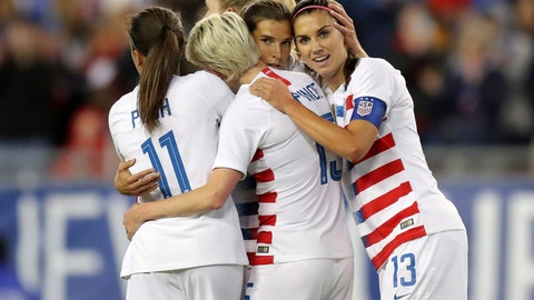 <p>               United States' Tobin Heath, second from right, is congratulated on her goal by Mallory Pugh (11), Megan Rapinoe and Alex Morgan (13) during the first half of a SheBelieves Cup soccer match against Brazil Tuesday, March 5, 2019, in Tampa, Fla. (AP Photo/Mike Carlson)             </p>