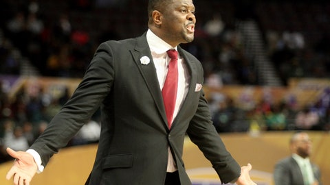 <p>               North Carolina Central coach LeVelle Moton directs his team  during an NCAA college basketball game against Norfolk State in the championship of the Mid-Eastern Athletic Conference tournament, Saturday, March 16, 2019, in Norfolk, Va. (AP Photo/Jason Hirschfeld)             </p>