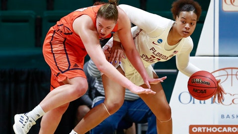 <p>               Florida State forward Valencia Meyers, right, grabs the basketball away from Bucknell forward Kaitlyn Slagus, left, during a first-round women's college basketball game in the NCAA Tournament in Charlotte, N.C., Friday, March 22, 2019. (AP Photo/Jason E. Miczek)             </p>
