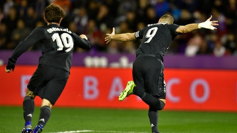 <p>               Real Madrid's Karim Benzema, celebrates his second goal beside Alvaro Odriozola against Real Valladolid during the Spanish La Liga soccer match between Real Madrid and Valladoid FC at Jose Zorrila New stadium in Valladolid, northern Spain, Sunday, March 10, 2019. (AP Photo/Alvaro Barrientos)             </p>