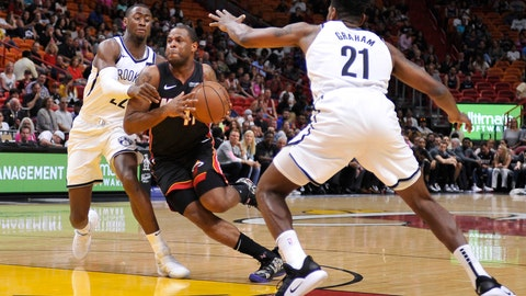 <p>               Miami Heat guard Dion Waiters drives past Brooklyn Nets guards Caris LeVert and Treveon Graham during the first half of an NBA basketball game at the American Airlines Arena Saturday, March 2, 2019 in Miami. (AP Photo/Gaston De Cardenas)             </p>