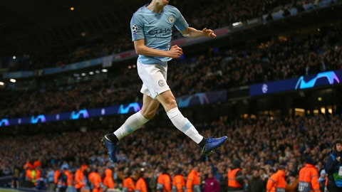 <p>               Manchester City's Phil Foden celebrates after scoring his side's sixth goal during the Champions League round of 16 second leg, soccer match between Manchester City and Schalke 04 at Etihad stadium in Manchester, England, Tuesday, March 12, 2019. (AP Photo/Dave Thompson)             </p>