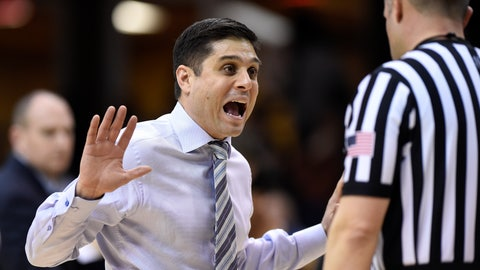 <p>               UNC-Greensboro head coach Wes Miller, left, argues a call with a referee in the first half of an NCAA college basketball game against Wofford for the Southern Conference tournament championship, Monday, March 1, 2019, in Asheville, N.C. (AP Photo/Kathy Kmonicek)             </p>