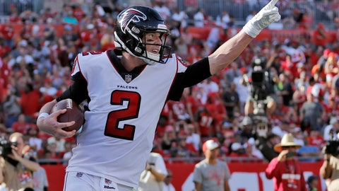 <p>               FILE - In this Dec. 30, 2018, file photo, Atlanta Falcons quarterback Matt Ryan (2) celebrates after catching a 5-yard touchdown pass from Mohamed Sanu during the second half of an NFL football game against the Tampa Bay Buccaneers in Tampa, Fla. The Falcons have gained some much-needed salary cap room by restructuring Ryan's contract. The Falcons confirmed that $8.75 million of Ryan's 2019 base salary will be paid as a signing bonus. (AP Photo/Mark LoMoglio, File)             </p>
