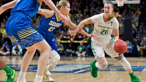 <p>               Oregon guard Sabrina Ionescu, right, drives to the basket past South Dakota State guard Tylee Irwin during the first half of a regional semifinal in the NCAA women's college basketball tournament Friday, March 29, 2019, in Portland, Ore. (AP Photo/Craig Mitchelldyer)             </p>