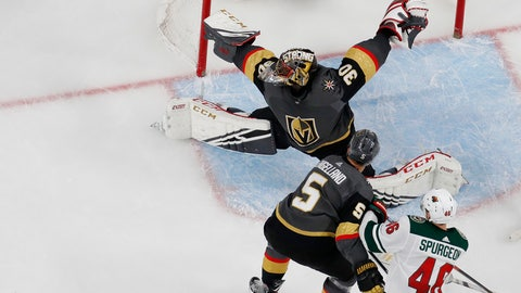 <p>               Minnesota Wild left wing Kevin Fiala, bottom left, scores on Vegas Golden Knights goaltender Malcolm Subban during the second period of an NHL hockey game Friday, March 29, 2019, in Las Vegas. (AP Photo/John Locher)             </p>