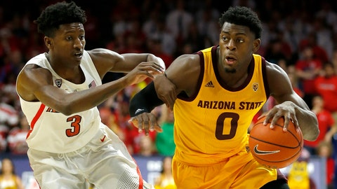<p>               Arizona State guard Luguentz Dort (0) drives past Arizona guard Dylan Smith in the first half during an NCAA college basketball game, Saturday, March 9, 2019, in Tucson, Ariz. (AP Photo/Rick Scuteri)             </p>
