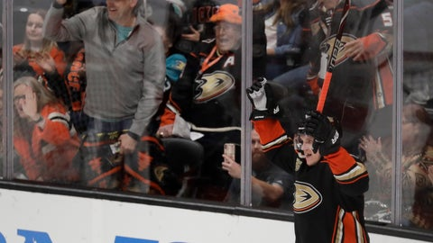 <p>               Anaheim Ducks right wing Jakob Silfverberg celebrates after scoring during the third period of the team's NHL hockey game against the Florida Panthers in Anaheim, Calif., Sunday, March 17, 2019. The Ducks won 3-2. (AP Photo/Chris Carlson)             </p>