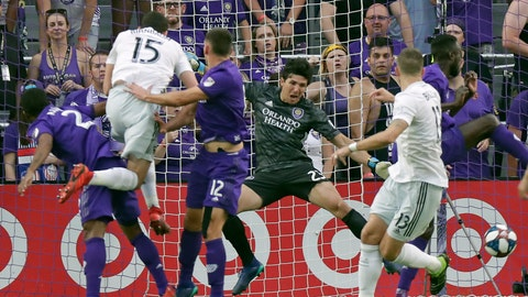 <p>               D.C. United's Steve Birnbaum (15) heads the ball past Orlando City goalkeeper Brian Rowe, second from right, to score a goal during the first half of an MLS soccer match, Sunday, March 31, 2019, in Orlando, Fla. (AP Photo/John Raoux)             </p>