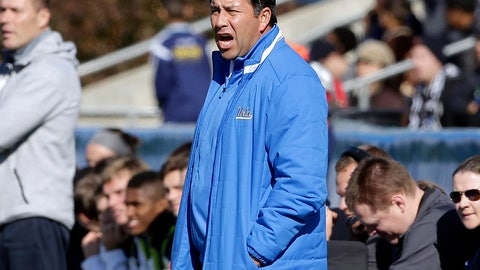 <p>               FILE - In this Dec. 14, 2014 file photo, UCLA coach Jorge Salcedo reacts during the first half of an NCAA College Cup championship soccer game against Virginia in Cary, N.C. Salcedo was charged along with nearly 50 other people Tuesday, March 12, 2019, in a scheme in which wealthy parents bribed college coaches and insiders at testing centers to get their children into some of the most elite schools in the country, federal prosecutors said. UCLA said that Salcedo has been placed on leave pending a review and will have no involvement with the team.  (AP Photo/Gerry Broome, File)             </p>