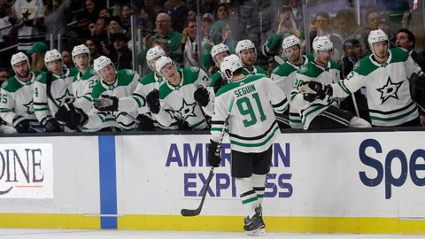 <p>               Dallas Stars' Tyler Seguin (91) celebrates his goal with teammates during the first period of an NHL hockey game against the Los Angeles Kings on Thursday, Feb. 28, 2019, in Los Angeles. (AP Photo/Marcio Jose Sanchez)             </p>