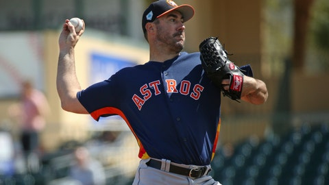 <p>               FILE - In this March 7, 2019, file photo, Houston Astros pitcher Justin Verlander throws during the first inning of a spring training baseball game against the Miami Marlins at the Roger Dean Chevrolet Stadium on Thursday, in Jupiter, Fla. (David Santiago/Miami Herald via AP, File)             </p>