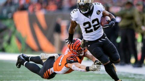 <p>               FILE - In this Nov. 11, 2018, file photo, New Orleans Saints running back Mark Ingram (22) outruns the tackle of Cincinnati Bengals defensive end Sam Hubbard (94) during the first half of an NFL football game in Cincinnati. The Baltimore Ravens finally made their move during the NFL's free agent frenzy, securing running back Mark Ingram and safety Earl Thomas on Wednesday, March 13, 2019. (AP Photo/Bryan Woolston, File)             </p>