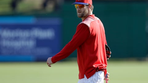 <p>               Philadelphia Phillies' Bryce Harper walks off the field after taking batting practice before a spring training baseball game against the Tampa Bay Rays Monday, March 11, 2019, in Clearwater, Fla. (AP Photo/Chris O'Meara)             </p>