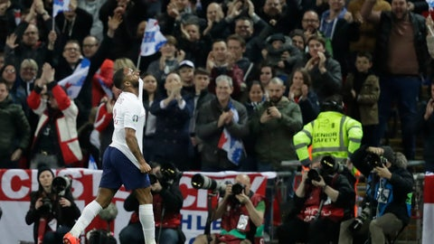 <p>               England's Raheem Sterling celebrates his sides third goal during the Euro 2020 group a qualifying soccer match between England and the Czech Republic at Wembley stadium in London, Friday March 22, 2019. (AP Photo/Matt Dunham)             </p>