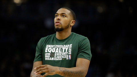 <p>               FILE - In this Feb. 9, 2019, file photo, Milwaukee Bucks' Sterling Brown warms up before the second half of an NBA basketball game against the Orlando Magic, in Milwaukee. Sterling Brown sincerely hopes his efforts to work alongside law enforcement on improving practices during arrests and stops will one day mean other black men don't have to go through what he endured last year. Merely 13 months after being Tased by police in the wee hours at a Milwaukee Walgreen's, Brown knows he has an important responsibility to make a difference from his experience _ even if he might never trust police again. (AP Photo/Aaron Gash, File)             </p>