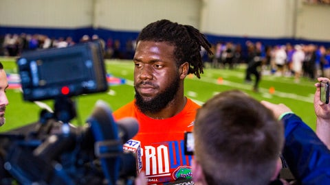 <p>               Defensive lineman Jachai Polite answers questions from the media during University of Florida's football Pro Day in Gainesville, Fla., Wednesday, March 27, 2019.  (Lauren Bacho/The Gainesville Sun via AP)             </p>