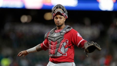 <p>               FILE - In this Tuesday, June 6, 2017 file photo, Los Angeles Angels catcher Martin Maldonado looks towards the dugout during the sixth inning of a baseball game against the Detroit Tigers in Detroit. The Kansas City Royals have finalized a $2.5 million, one-year deal with Martin Maldonado, giving them a veteran catcher after losing Salvador Perez to a season-ending injury. The deal announced Monday, March 11, 2019 includes up to $1.4 million in performance bonuses for games caught. (AP Photo/Carlos Osorio, File)             </p>