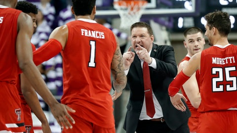 <p>               FILE - In this Saturday, March 2, 2019, file photo, Texas Tech head coach Chris Beard, center, cheers on Tariq Owens, left, Brandone Francis (1), Davide Moretti (25) and Matt Mooney, right rear, during a time out late in the second half of an NCAA college basketball game against TCU in Fort Worth, Texas. Eighth-ranked Texas Tech has been helped by two grad transfers, Owens and Mooney, in pursuit of the school's first Big 12 title after Elite Eight losses. (AP Photo/Tony Gutierrez, File)             </p>