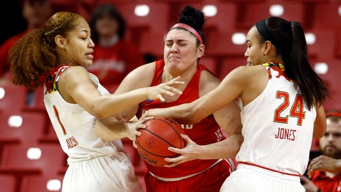 <p>               Maryland forwards Shakira Austin, left, and Stephanie Jones, right, pressure Radford center Sydney Nunley as Nunley tries to keep possession of the ball in the first half of a first round women's college basketball game in the NCAA Tournament, Saturday, March 23, 2019, in College Park, Md. (AP Photo/Patrick Semansky)             </p>