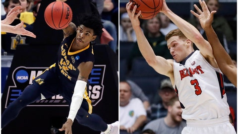 <p>               In this combination of NCAA college basketball tournament photos, Murray State's Ja Morant, left, scrambles for the ball on March 21, 2019, in Hartford, Conn., and Belmont's Dylan Windler, right, rebounds March 19, 2019, in Dayton, Ohio. Morant and Windler were two of the top stories of the tournament's first week, leading their mid-major conference teams to victories. Those wins will be paying dividends for years to come for the Ohio Valley Conference. (AP Photos)             </p>