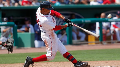 <p>               Boston Red Sox' Mookie Betts connects on a solo-home run in the seventh inning of a spring training baseball game against the Atlanta Braves Saturday, March 16, 2019, in Fort Myers, Fla. (AP Photo/John Bazemore)             </p>