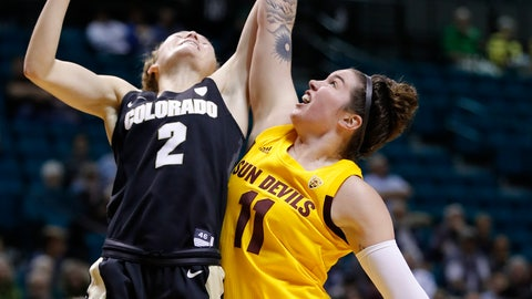 <p>               Colorado's Alexis Robinson, left, and Arizona State's Robbi Ryan battle for a rebound during the second half of an NCAA college basketball game at the Pac-12 women's tournament Thursday, March 7, 2019, in Las Vegas. (AP Photo/John Locher)             </p>
