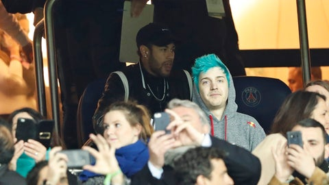 <p>               PSG forward Neymar, top, watches in the tribune the Champions League round of 16, 2nd leg, soccer match between Paris Saint Germain and Manchester United at the Parc des Princes stadium in Paris, France, Wednesday, March. 6, 2019. (AP Photo/Thibault Camus)             </p>
