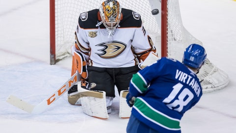 <p>               Vancouver Canucks' Jake Virtanen (18) puts a shot off the post behind Anaheim Ducks goalie John Gibson and has it stay out of the net during the second period of an NHL hockey game in Vancouver, British Columbia, Tuesday, March 26, 2019. (Darryl Dyck/The Canadian Press via AP)             </p>