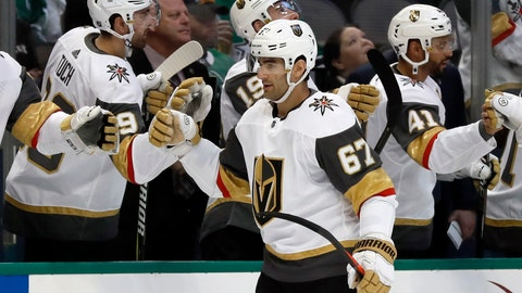 <p>               Vegas Golden Knights left wing Max Pacioretty (67) is congratulated by the bench after scoring against the Dallas Stars in the first period of an NHL hockey game in Dallas, Friday, March 15, 2019. (AP Photo/Tony Gutierrez)             </p>