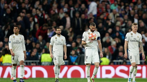<p>               Real forward Karim Benzema holds the ball after being scored by Ajax, during the Champions League soccer match between Real Madrid and Ajax at the Santiago Bernabeu stadium in Madrid, Spain, Tuesday, March 5, 2019. (AP Photo/Manu Fernandez)             </p>