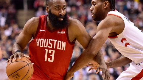 <p>               Houston Rockets guard James Harden (13) controls the ball as Toronto Raptors forward Kawhi Leonard (2) defends during the second half of an NBA basketball game Tuesday, March 5, 2019, in Toronto. (Frank Gunn/The Canadian Press via AP)             </p>