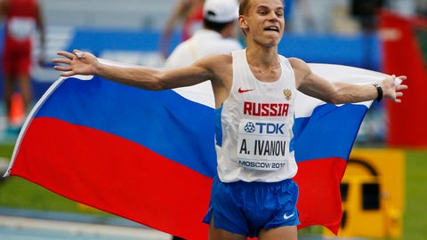 <p>               FILE - In this file photo dated Sunday, Aug. 11, 2013, Russia's Alexander Ivanov celebrates after winning the men's 20 kilometer race walk at the World Athletics Championships in Moscow, Russia.  Ivanov has been stripped of his 2013 world championship gold medal, and handed a three-year ban Friday March 22, 2019, after being found guilty of doping. (AP Photo/Alexander Zemlianichenko, FILE)             </p>