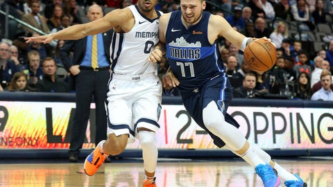 <p>               Memphis Grizzlies guard Avery Bradley (0) defends as Dallas Mavericks forward Luka Doncic (77) tries to drive with the ball in an NBA basketball game Saturday, March 2, 2019, in Dallas. (AP Photo/Richard W. Rodriguez)             </p>