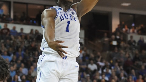 <p>               Duke's Zion Williamson dunks against North Dakota State during a first-round game in the NCAA men's college basketball tournament in Columbia, S.C. Friday, March 22, 2019. (AP Photo/Richard Shiro)             </p>