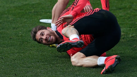<p>               Real Madrid's Sergio Ramos attends a training session at the team's Valdebebas training ground in Madrid, Spain, Monday, March 4, 2019. Real Madrid will play against Ajax in a Champions League soccer match on Tuesday. (AP Photo/Manu Fernandez)             </p>