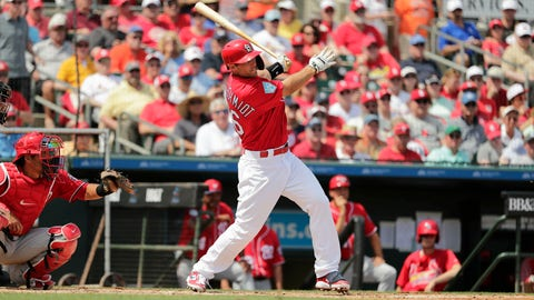 <p>               St. Louis Cardinals' Paul Goldschmidt, center, hits a double in the third inning during an exhibition spring training baseball game against the Washington Nationals on Monday, March 11, 2019, in Jupiter, Fla. (AP Photo/Brynn Anderson)             </p>