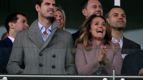 <p>               Andy Murray and wife Kim watch the action from the stands during Ladies Day at the 2019 Cheltenham Festival at Cheltenham Racecourse, England, Wednesday, March 13, 2019. (Aaron Chown/PA via AP)             </p>